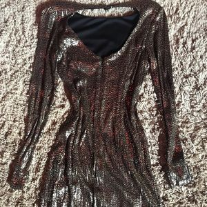 GUESS Gold Long Sleeve Sequin Dress, Size XS
